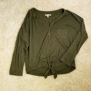 American Eagle Long Sleeve Quarter Button Down